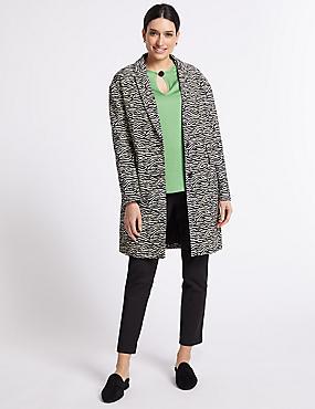 Cotton Rich Animal Print Coat, BLACK MIX, catlanding