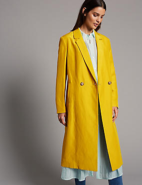 Linen Rich Longline Duster Coat , YELLOW, catlanding