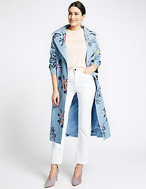 Pure Cotton Embroidered Trench Coat