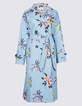 Pure Cotton Embroidered Trench Coat , BLUE MIX, catlanding