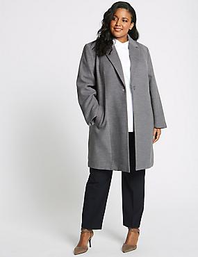 CURVE Single Button Coat, GREY MARL, catlanding