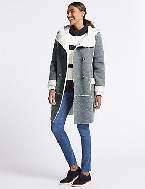 Wool Blend Patch Pocket Coat