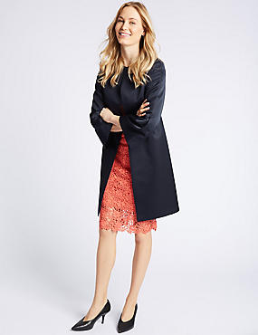Bell Sleeve Coat , NAVY, catlanding