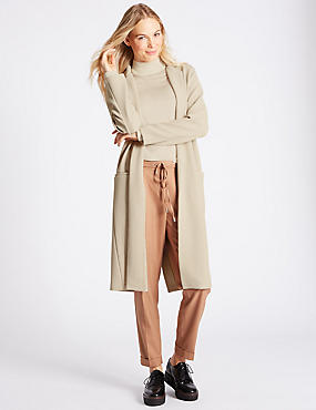 Open Front Crepe Coat