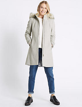 Faux Fur Collar Longline Coat