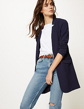 Crepe Notch Neck Coat, NAVY, catlanding