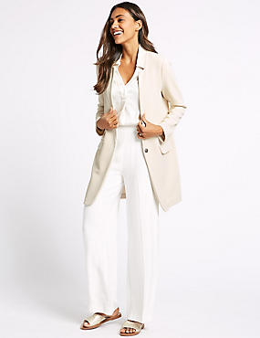 Crepe Notch Neck Coat, IVORY, catlanding