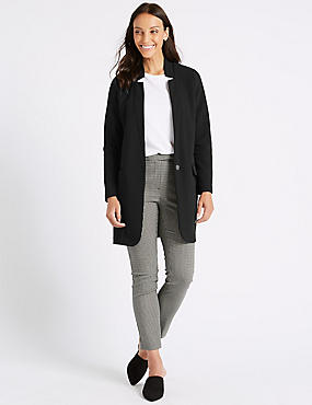 Crepe Notch Neck Coat, BLACK, catlanding