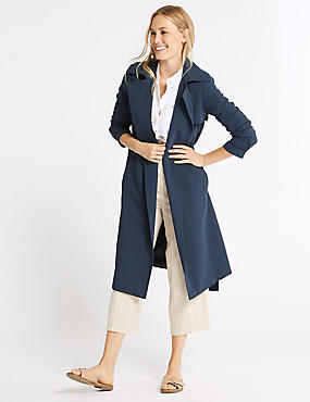 Crepe Trench Coat , NAVY, catlanding