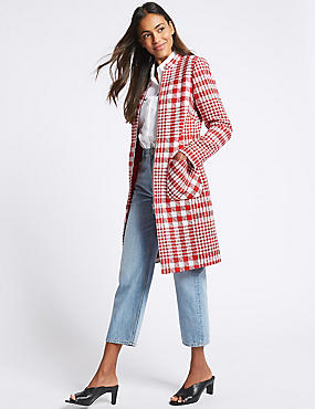 Checked Zipped Front Coat , RED MIX, catlanding