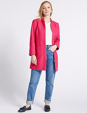 PETITE Textured Zipped Coat