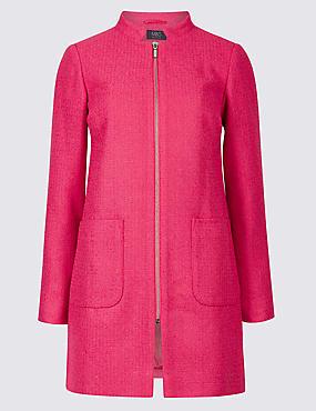 PETITE Textured Zipped Coat, LIPSTICK, catlanding