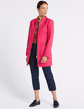 Textured Zipped Front Coat , LIPSTICK, catlanding