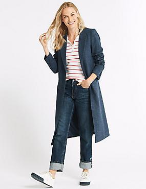 Textured Longline Overcoat , , catlanding
