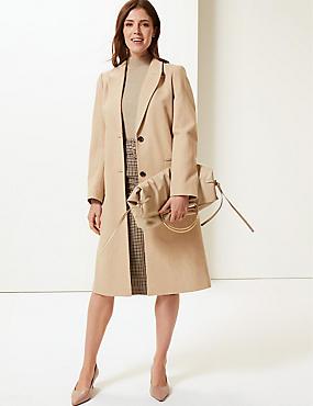 Textured Longline Overcoat , CAMEL, catlanding