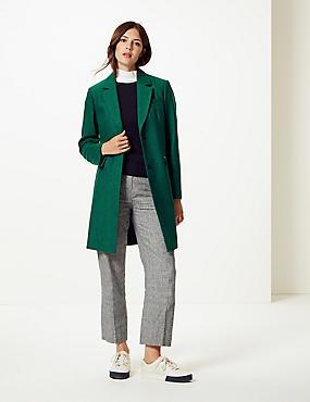Wool Blend Herringbone Coat, GREEN MIX, catlanding