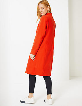 PETITE Double Breasted Funnel Neck Coat, CHILLI, catlanding