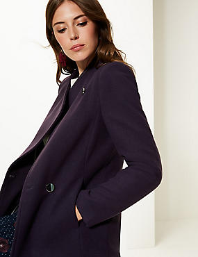 Double Breasted Funnel Neck Coat, DEEP PURPLE, catlanding