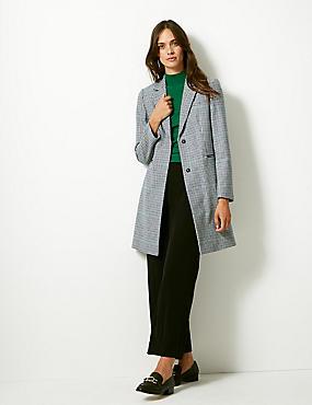 Wool Blend Checked Coat , NAVY MIX, catlanding