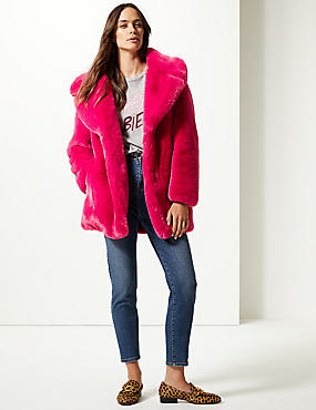 Single Breasted Faux Fur Jacket , CERISE, catlanding