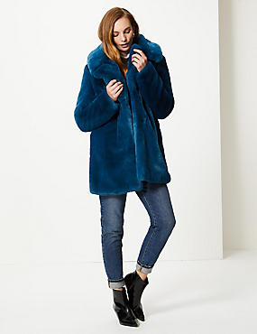 Single Breasted Faux Fur Jacket , DARK MARINE, catlanding