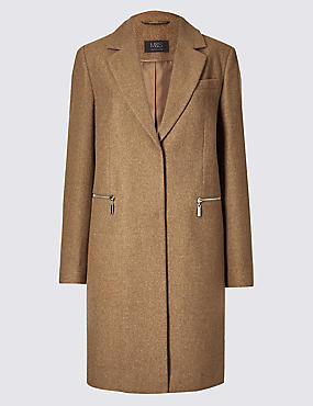 Wool Blend Single Breasted Coat , CAMEL MIX, catlanding