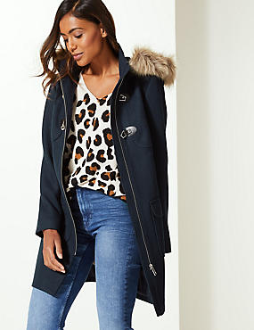 Faux Fur Duffle Coat, NAVY, catlanding