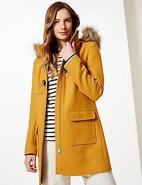 Faux Fur Duffle Coat, OCHRE, catlanding