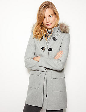 Faux Fur Duffle Coat, GREY MARL, catlanding