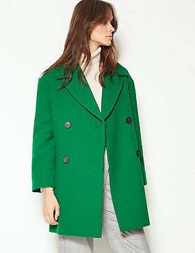 Double Breasted Peacoat with Wool, EMERALD, catlanding