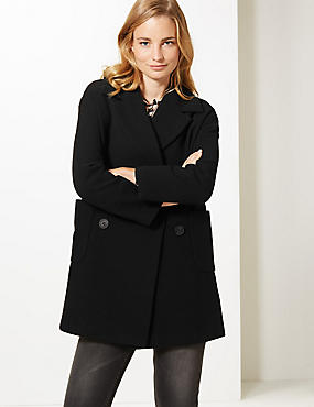 Textured Double Breasted Coat, BLACK, catlanding