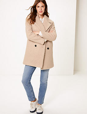 Textured Double Breasted Coat, NEUTRAL, catlanding