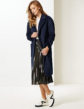 Single Breasted Coat , NAVY, catlanding