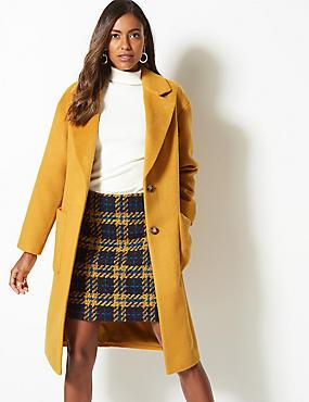 Single Breasted Coat , OCHRE, catlanding