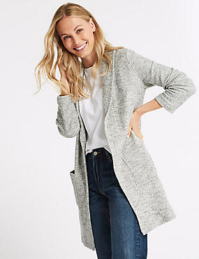 Cotton Rich Textured Open Front Coat, ECRU, catlanding