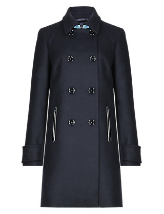 Pure Wool Double Breasted Peacoat Clothing