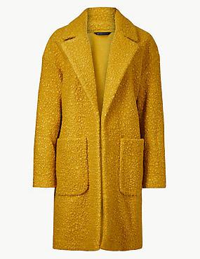 Lightweight Textured Open Front Coat, HONEY, catlanding