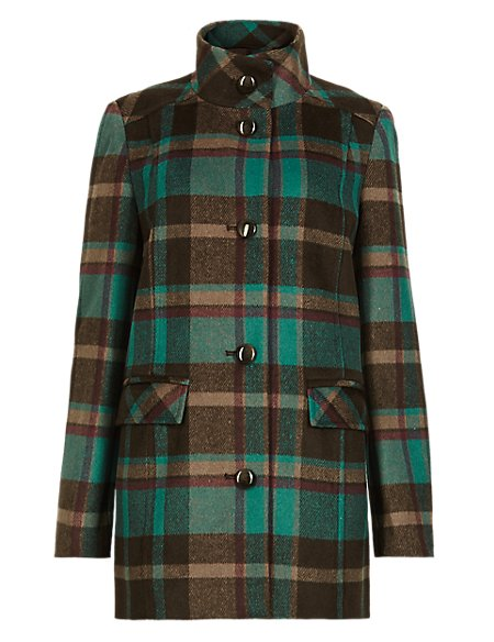 Checked Coat with Wool