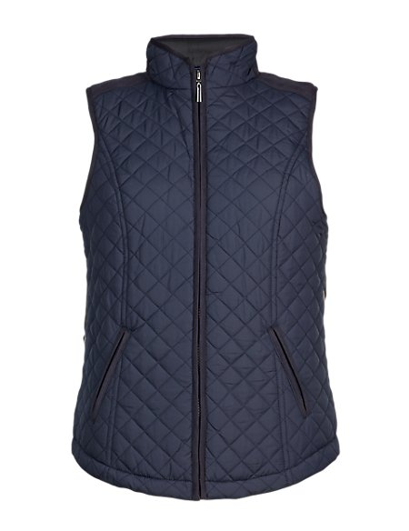 Metallic Effect Quilted Gilet