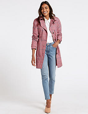 Checked Trench Coat with Stormwear™, PINK MIX, catlanding