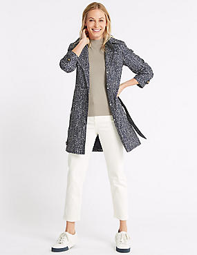 Herringbone Trench Coat with Stormwear™, NAVY MIX, catlanding