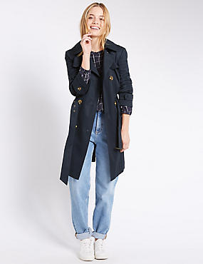PETITE Button Through Trench Coat