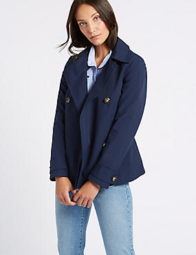 Double Breasted Trench Coat with Stormwear™, NAVY, catlanding