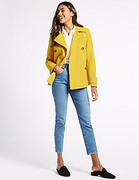 Double Breasted Trench Coat with Stormwear™, BUTTERCUP, catlanding