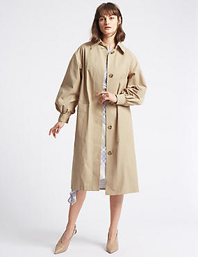 Cotton Rich Puff Sleeve Trench Coat, TAN, catlanding