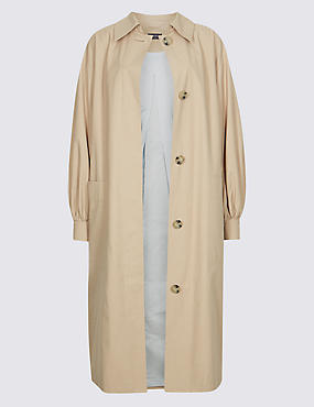 Cotton Rich Puff Sleeve Trench Coat