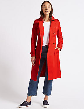 Pure Cotton Longline Trench with Stormwear™, BRIGHT RED, catlanding