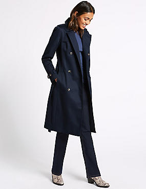 Pure Cotton Longline Trench with Stormwear™, NAVY, catlanding