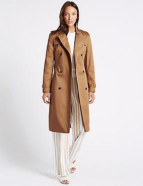 Pure Cotton Longline Trench with Stormwear™, SANDSTONE, catlanding