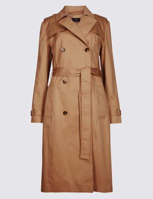 Pure Cotton Longline Trench With Stormwear™ by Marks & Spencer